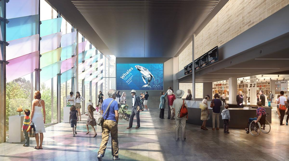 Artist's rendering of the expanded Crystal Hall entrance / Australian Museum