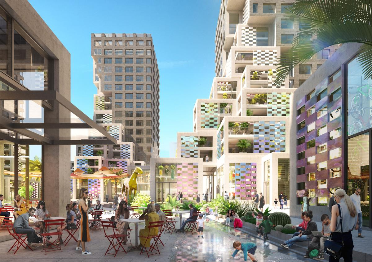 Pixel is built around a lively communal plaza.