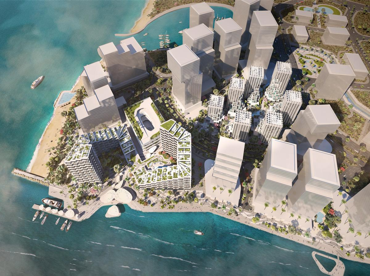 The 85,000sq m (915,000sq ft) development features 525 apartments, shops, offices, and amenities