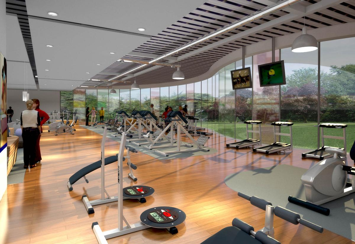 Facilities include a health club with a large gym floor and group exercise studios