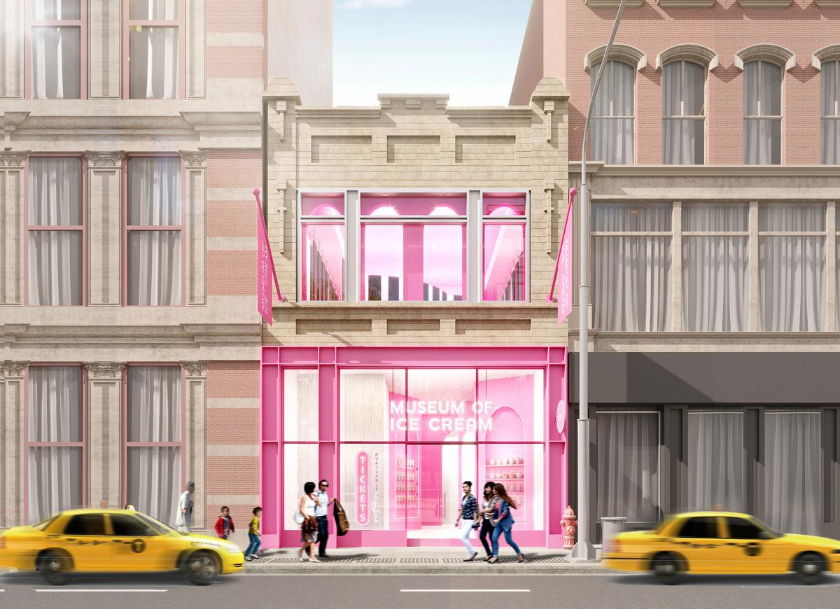 Rendering of the frontage of the soon-to-open Museum of Ice Cream New York City flagship / MOIC