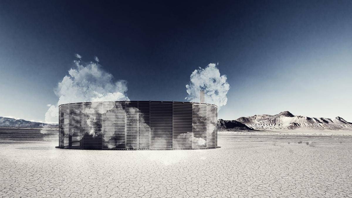 The circle-shaped Steam of Life Pavilion, co-designed by Sauna on Fire collective, has been built to offer the sequenced sauna experience, as a deconstructed art installation