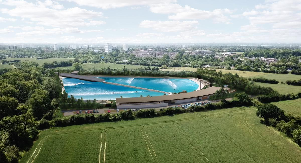 Emerge Surf Birmingham will include a 5.4-acre surf lagoon, an outdoor heated swimming pool and a perimeter track for Onewheel self-balancing electric skateboards