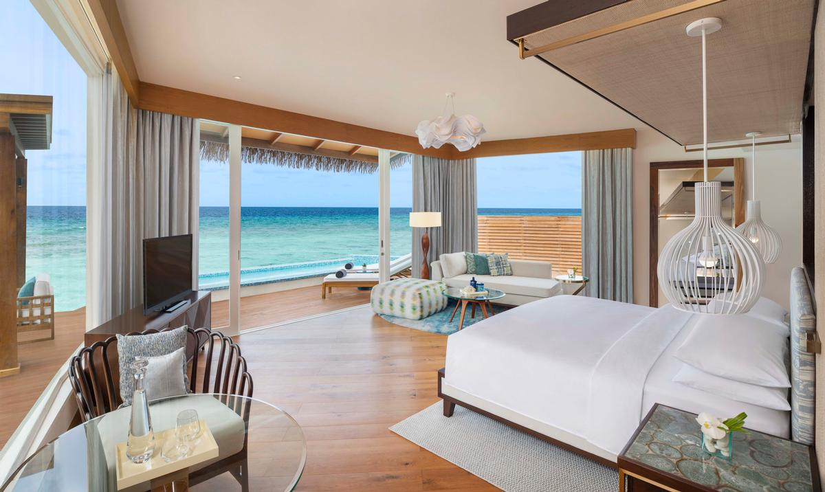 Interiors focus on comfort and lightness combined with unique experiences in a genuine Maldivian getaway atmosphere