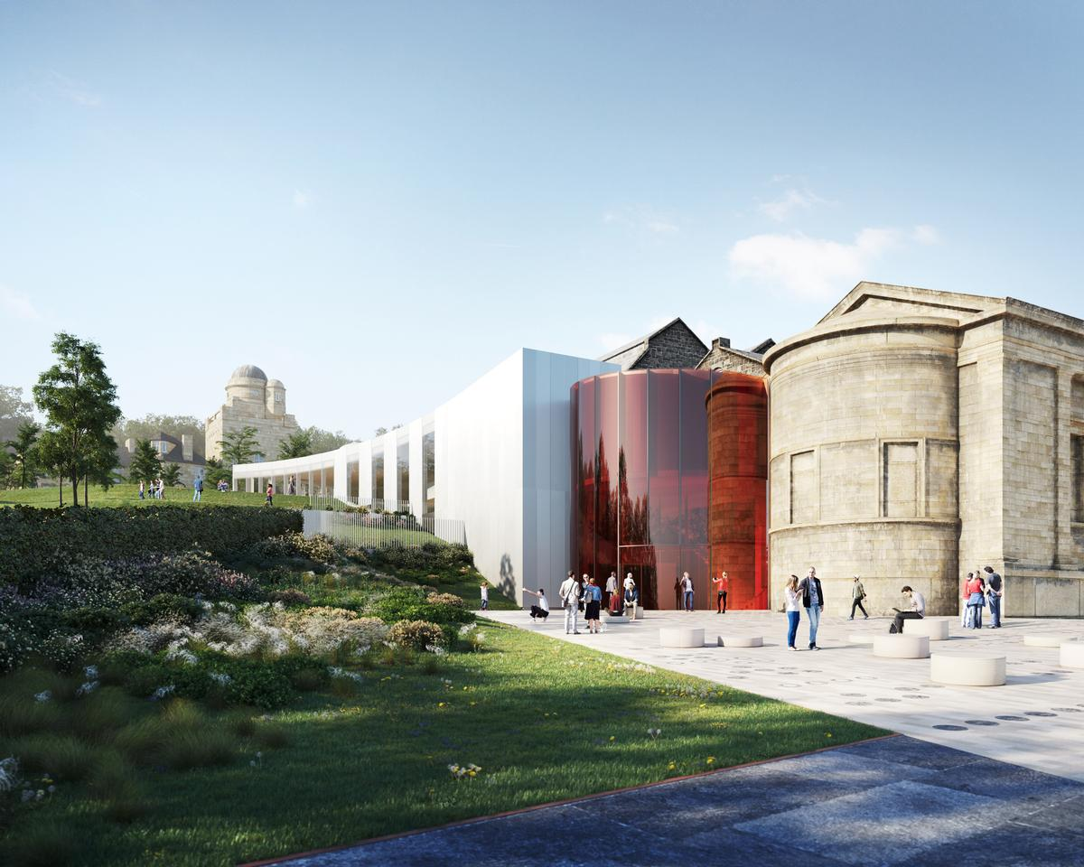 Images released by architects AL_A show a red glazed entrance hall and a new garden / Renfrewshire Council/AL_A