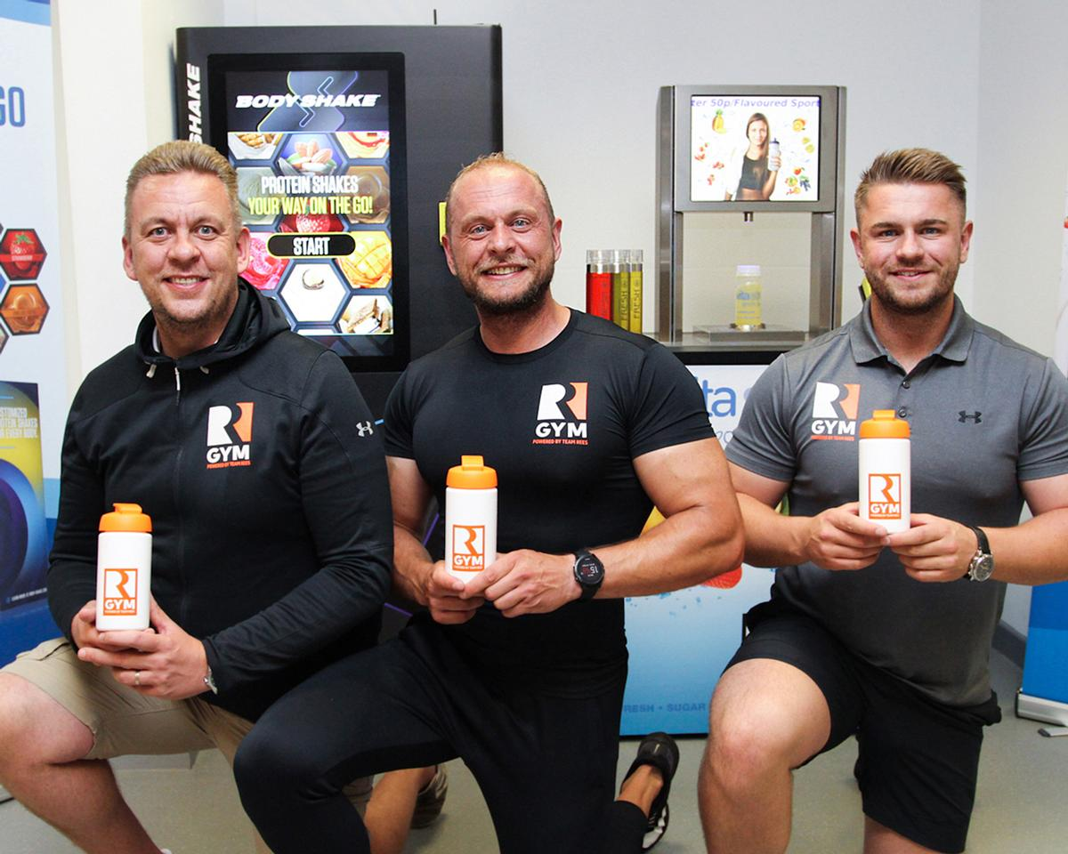 Vitapure has installed its first BodyShake machine at the Team Rees Gym in Caerphilly, Wales. Pictured: Martin, Jonathan and Richard Rees
