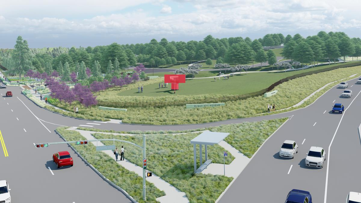 Alexander Liberman's <i>Ascent</i> sculpture (in red) will be in the new Mays Family Park area, along with additional outdoor works of art and new landscaping / McNay Art Museum