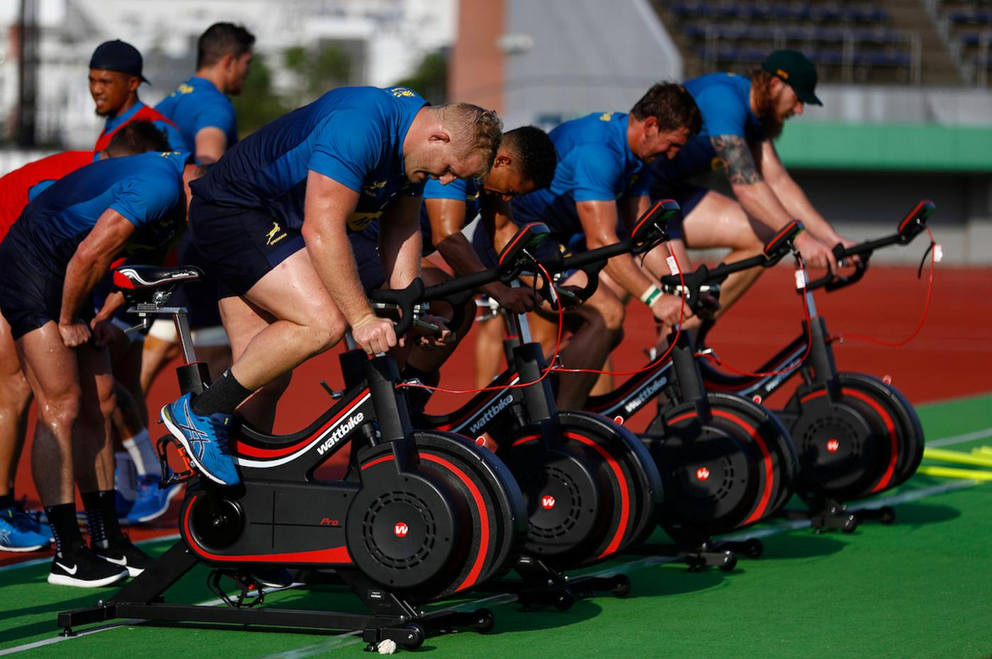 The South African rugby team training on Wattbikes at their training venue in Japan
