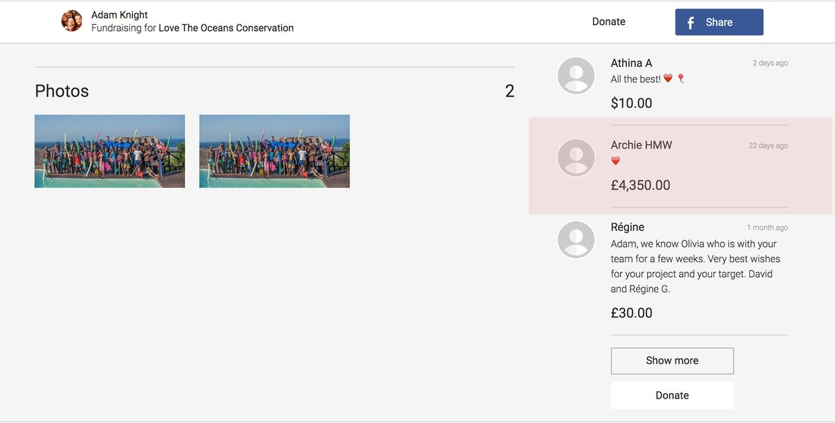 Made under the name 'Archie HMW', the donation (highlighted in red) has guaranteed the success of the £5,000 fundraising push
