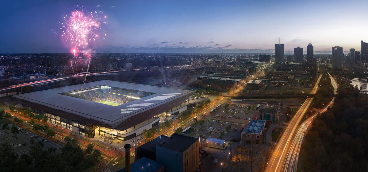 The stadium design is aimed at helping to amplify crowd noise and generate atmosphere / HNTB