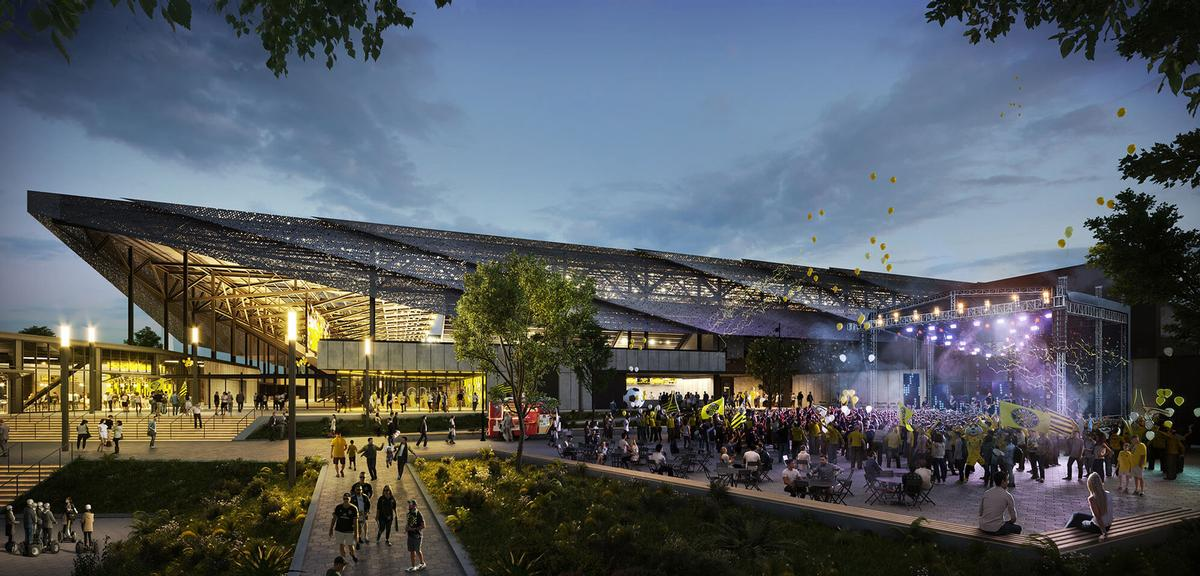 The plaza will be used on match-days and for events / HNTB