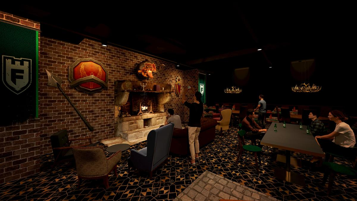 The basement lounge will have a fireplace / Populous