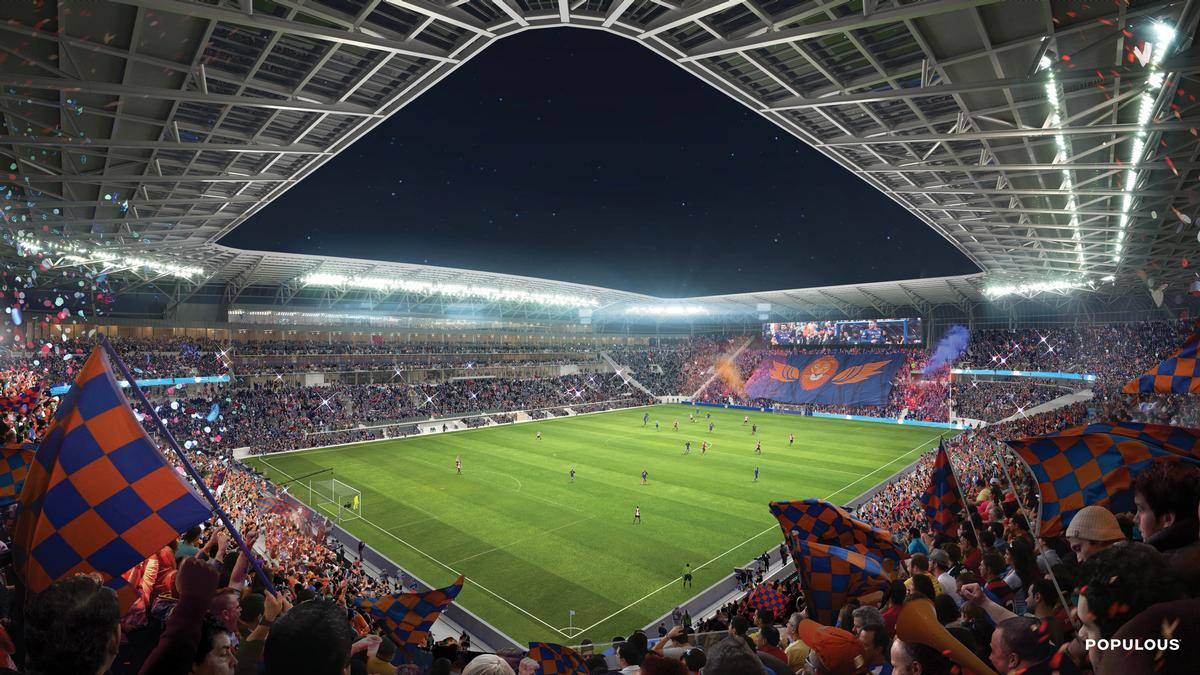 A cantilevered roof structure has been designed to allow sunlight onto the pitch / Populous