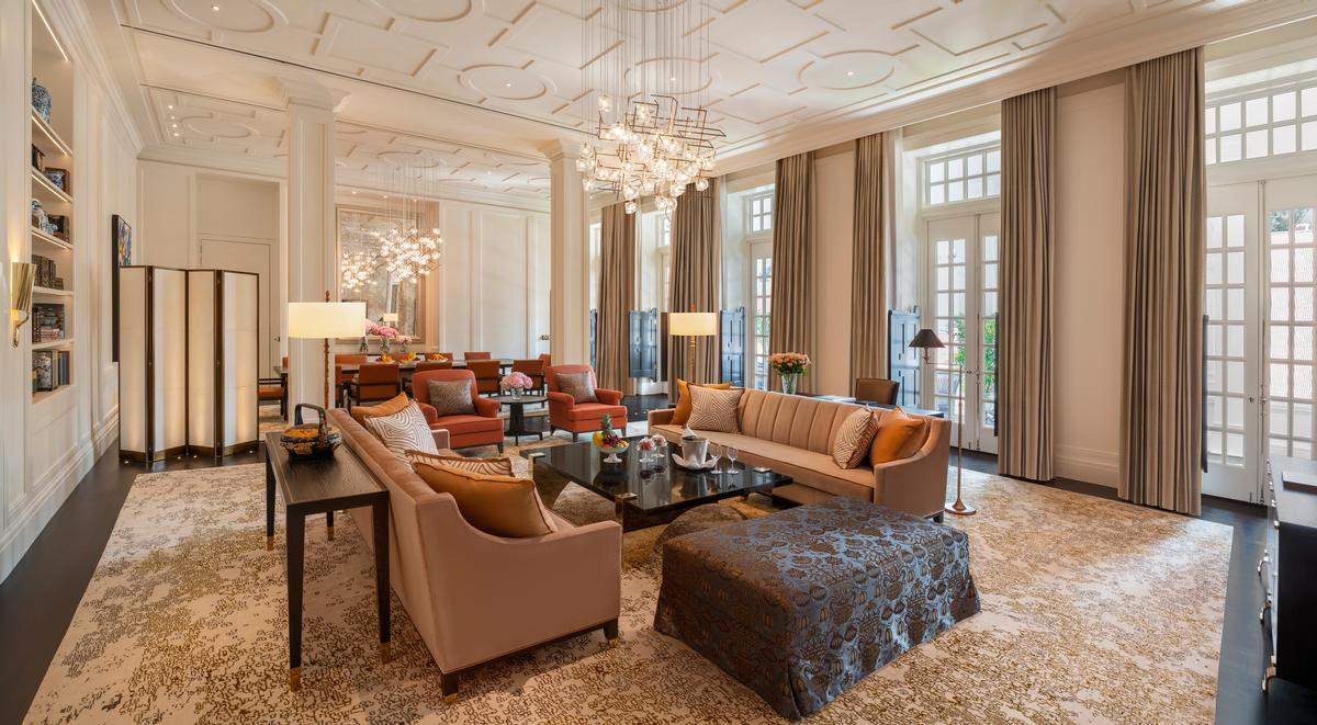 The Presidential Suite living room at Raffles Singapore / Accor