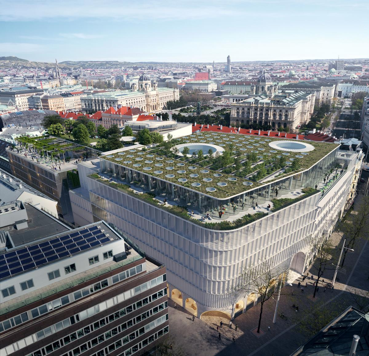 A roof-park will provide 360-degree views out across the Vienna skyline / OMA