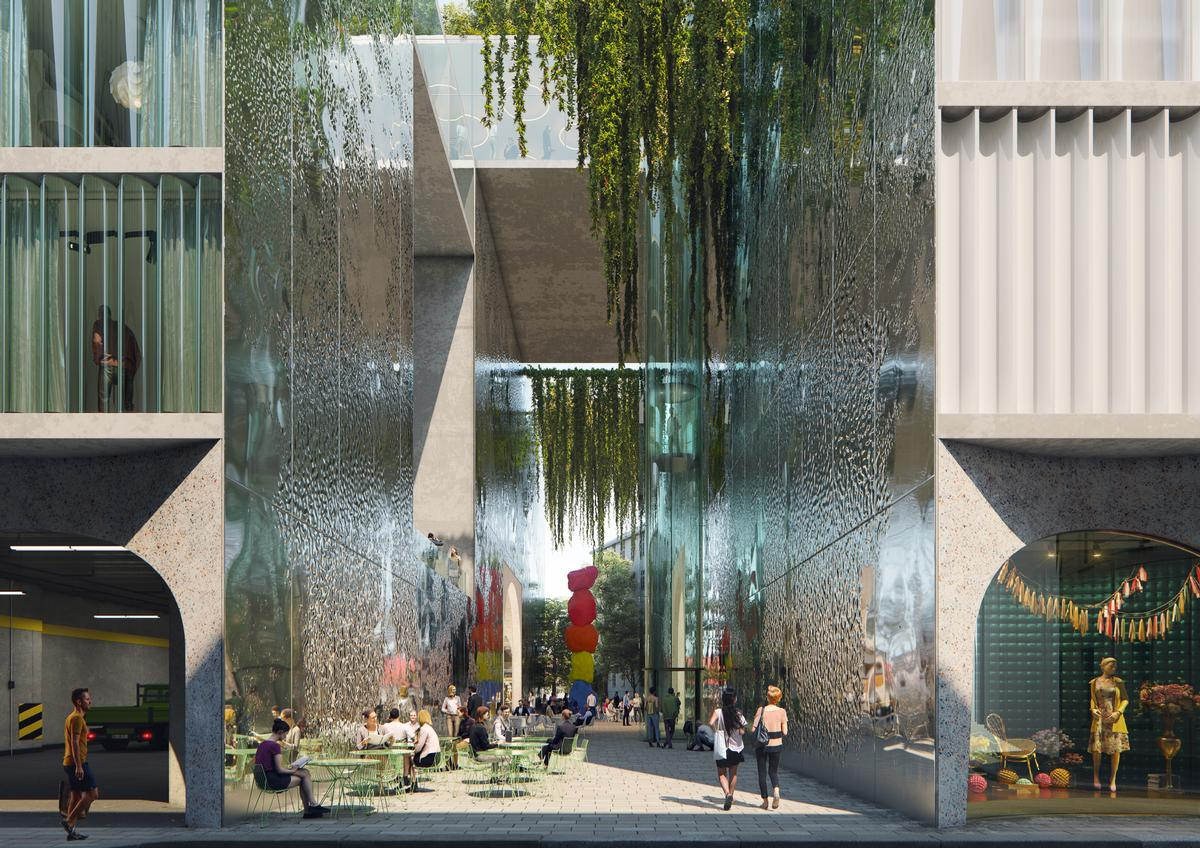 A green walkway will provide access to different parts of the complex / OMA