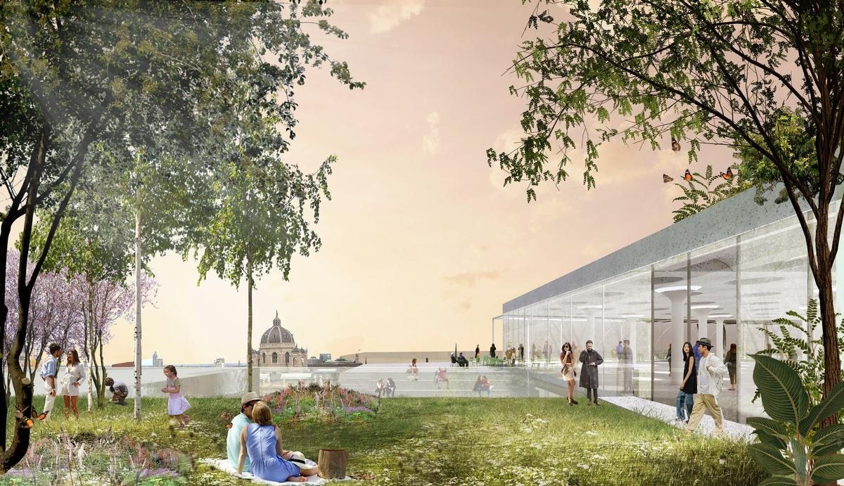 The gardens will feature tree groves, sun decks and restaurants / OMA