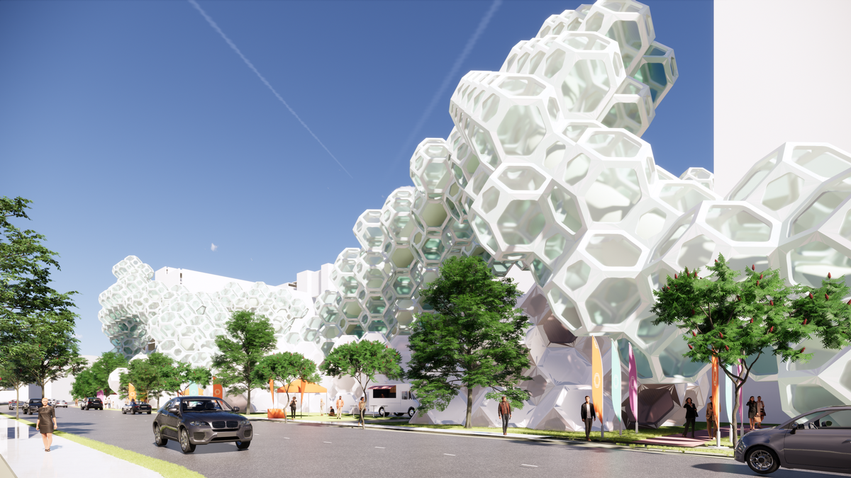 The concept could be used to build a pop-up hotel in remote areas or to help solve problems of space and density in urban cores / Cooper Carry
