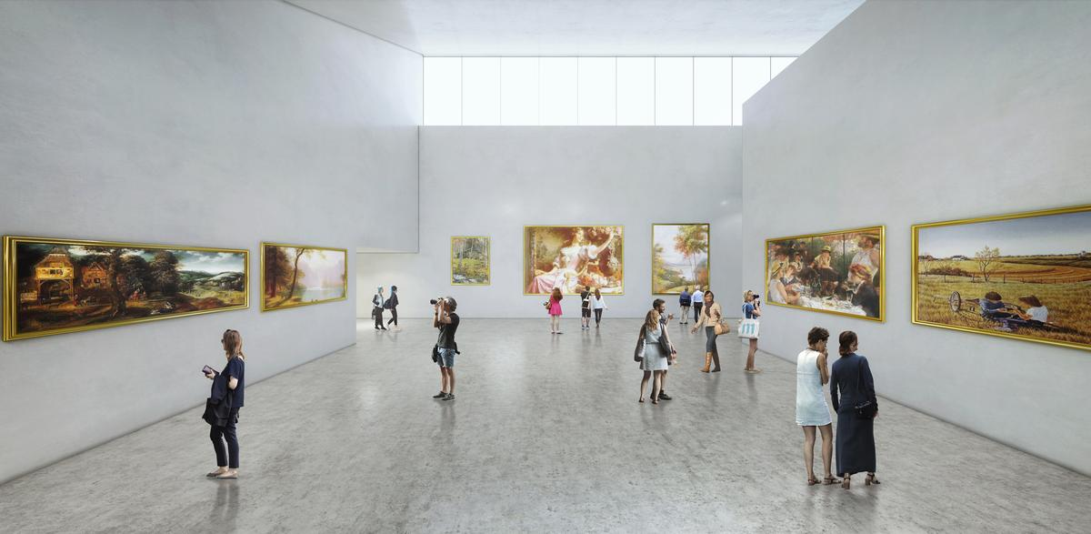There are large exhibition spaces inside / Brooks + Scarpa & KMF Architects