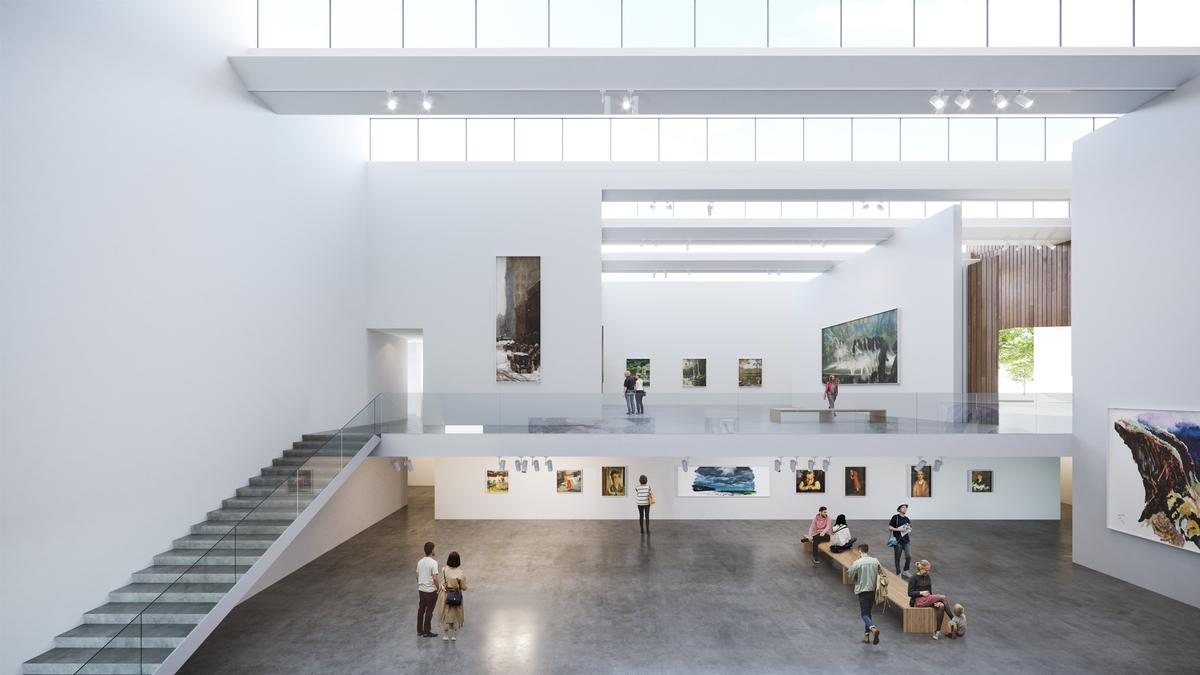 The museum is split across different levels / Brooks + Scarpa & KMF Architects