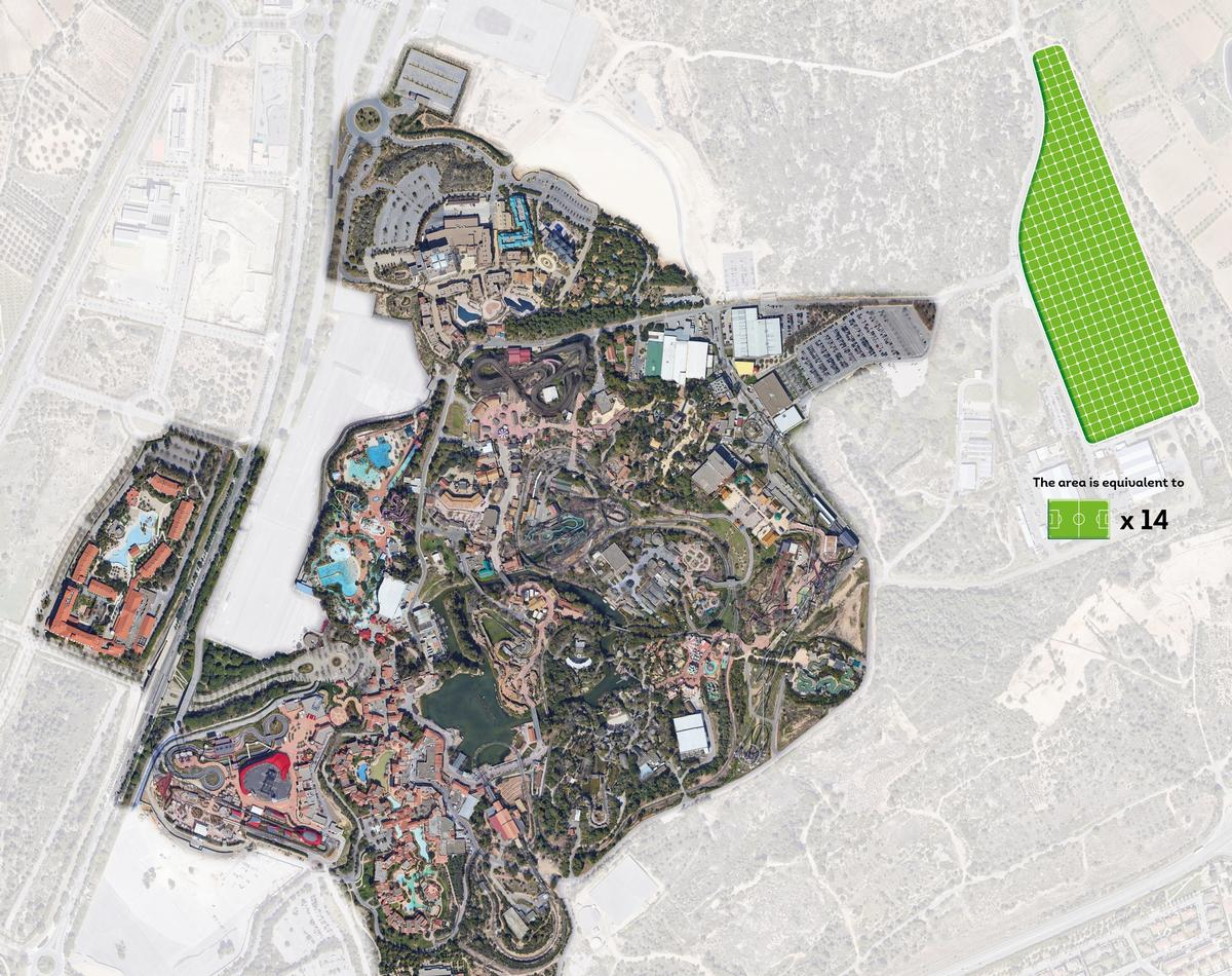 A graphic showing the size and location of the solar park, relative to the PortAventura resort