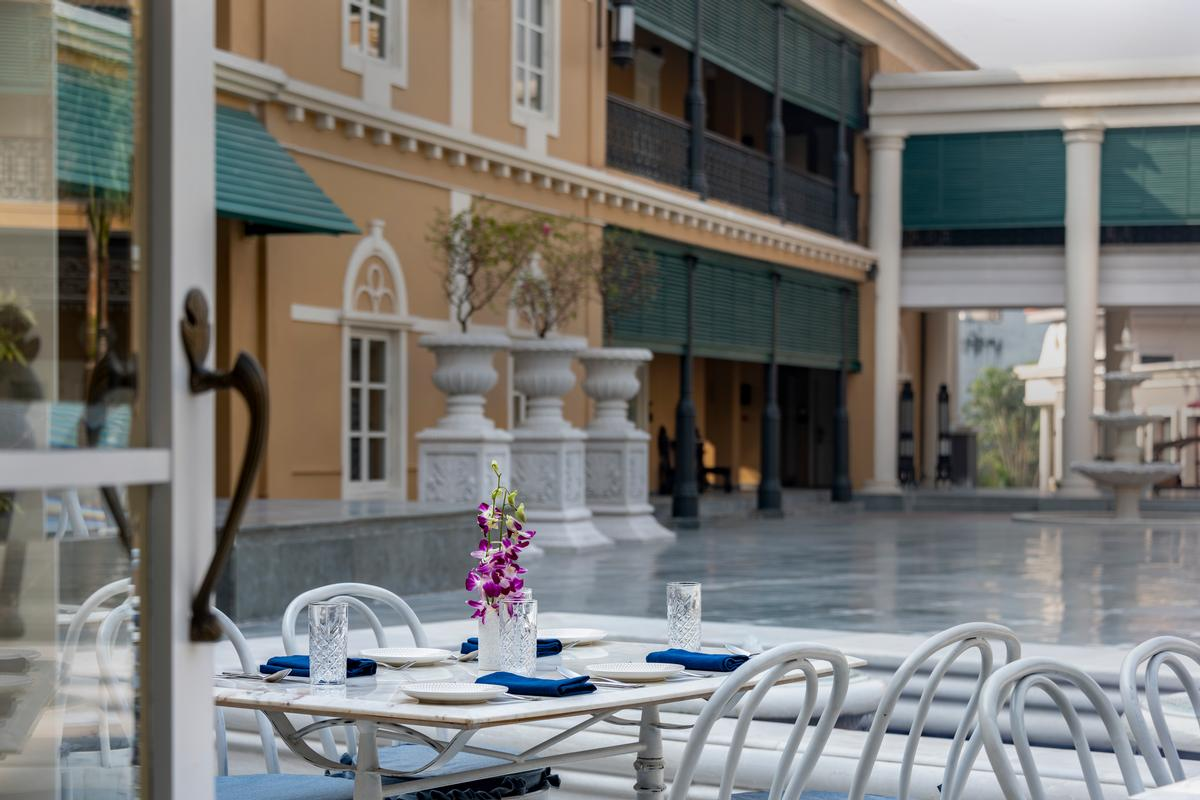 The hotel has ornate interiors, wrought iron verandahs and courtyards with fountains / Salient
