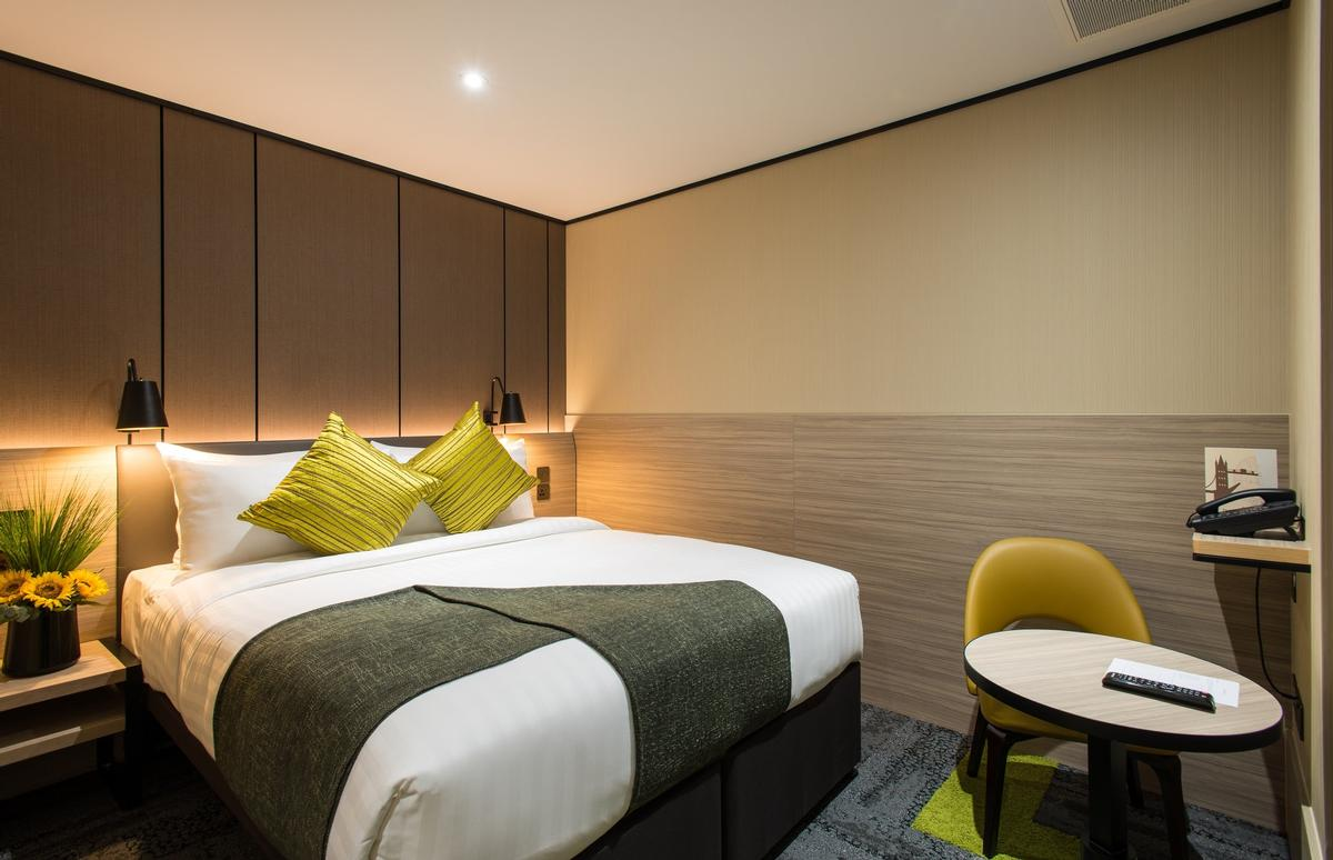 Rooms are soundproof, have warm, soothing lighting and mattresses and pillows that are handpicked to encourage quality sleep / Aerotel