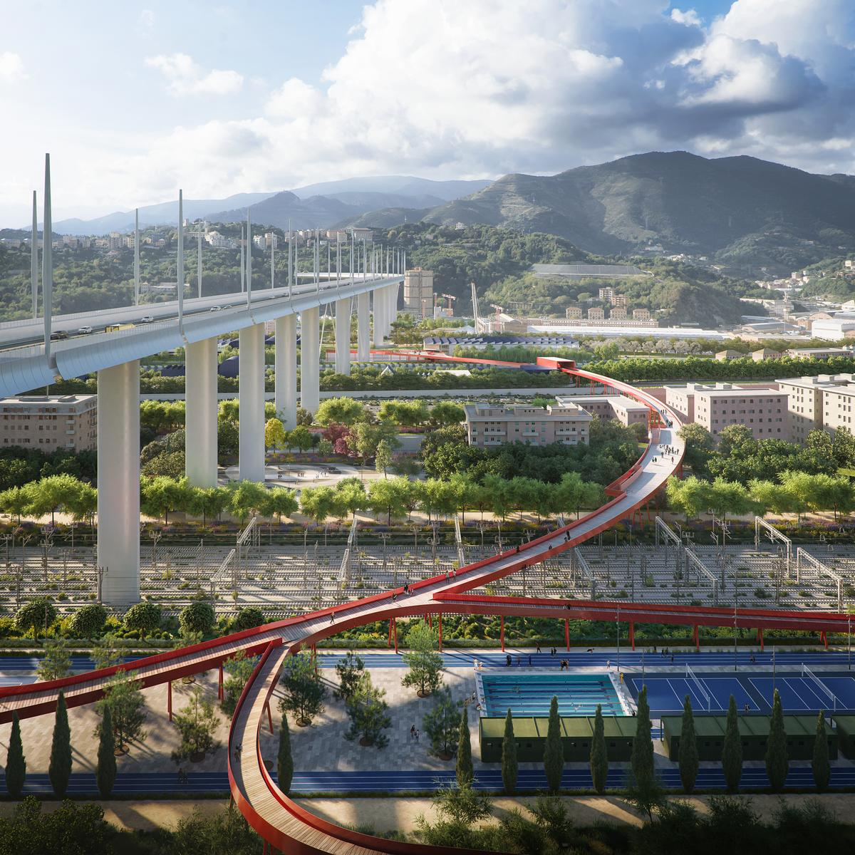 The Red Circle is a 1.5km elevated pedestrian and cycle bridge / The Big Picture