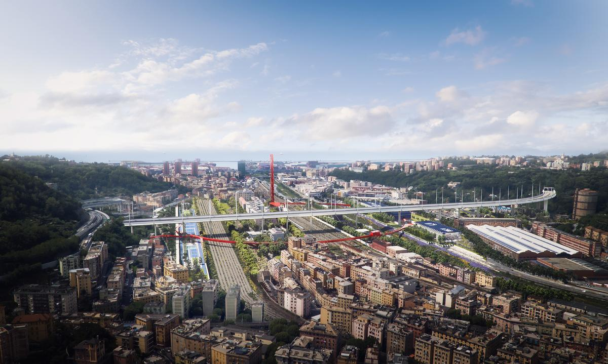 The project will regenerate the area below Renzo Piano's replacement for the collapsed Morandi Bridge in Genoa / The Big Picture