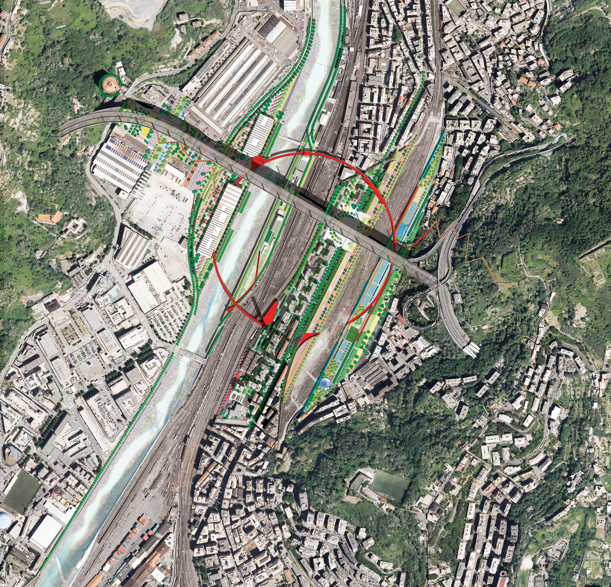 The Red Circle will span a large area, with off ramps in different places