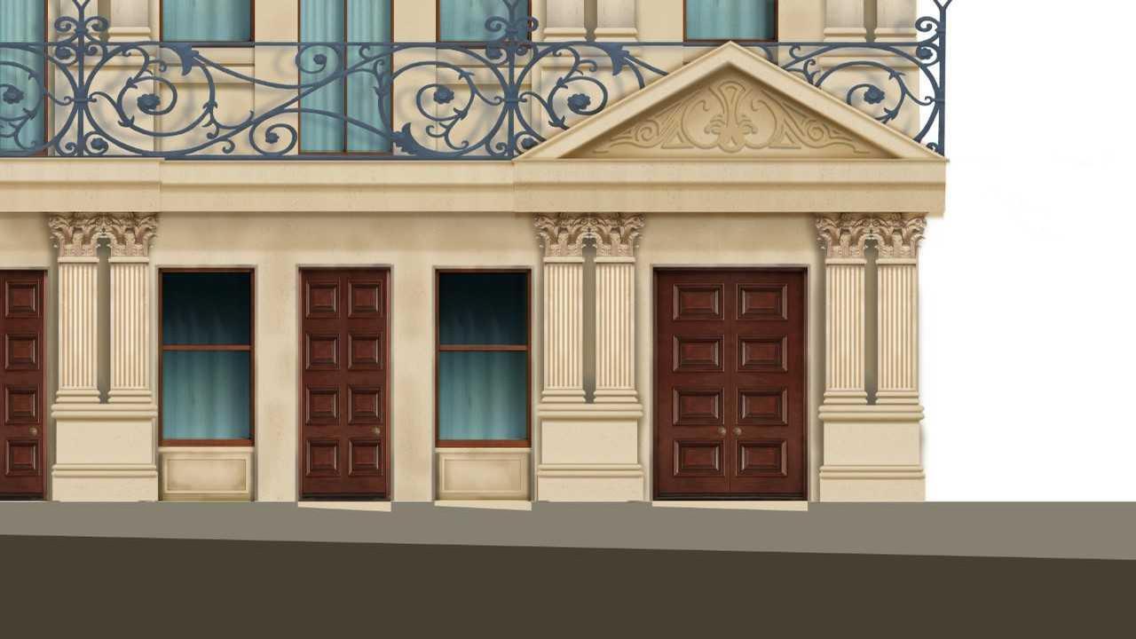 A close-up sketch of the façade and exterior balcony