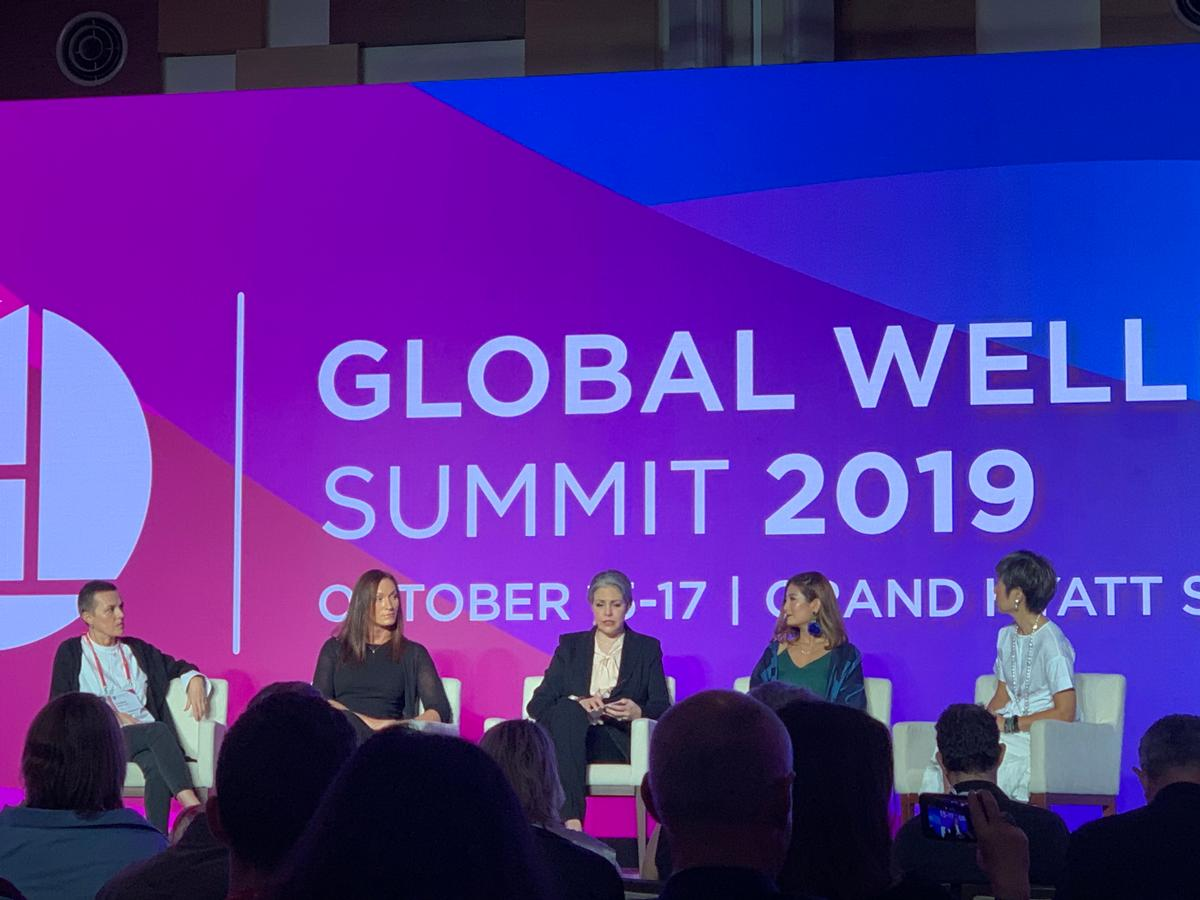 Asmar, second from left, announced the new textile recycling initiative during a panel at the Global Wellness Summit in Singapore today