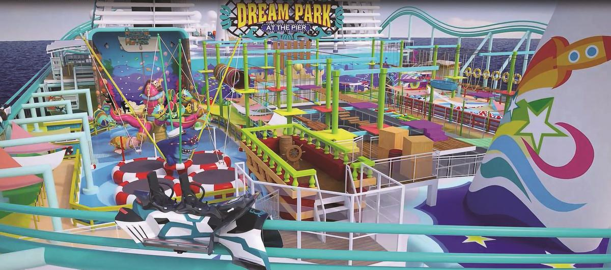 The Dream Park at the Pier theme park on board Global Dream includes a Maurer rollercoaster / Dream Cruises