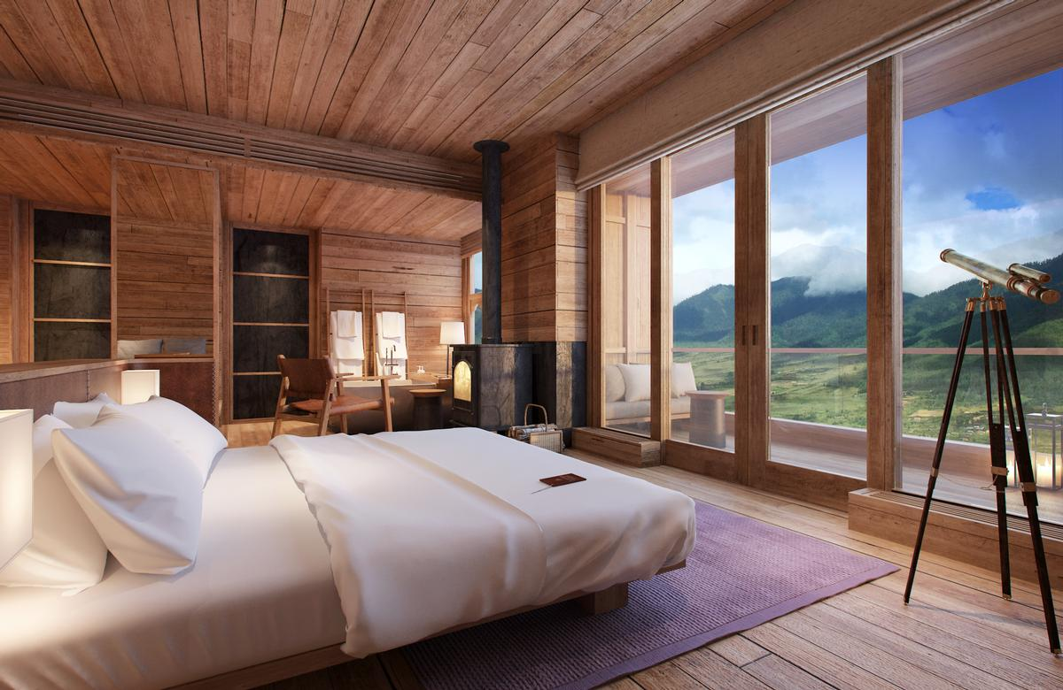 The lodge is perched 3,000 meters about the Phobjikha valley, offering guests views of the surrounding natural beauty. / Six Senses