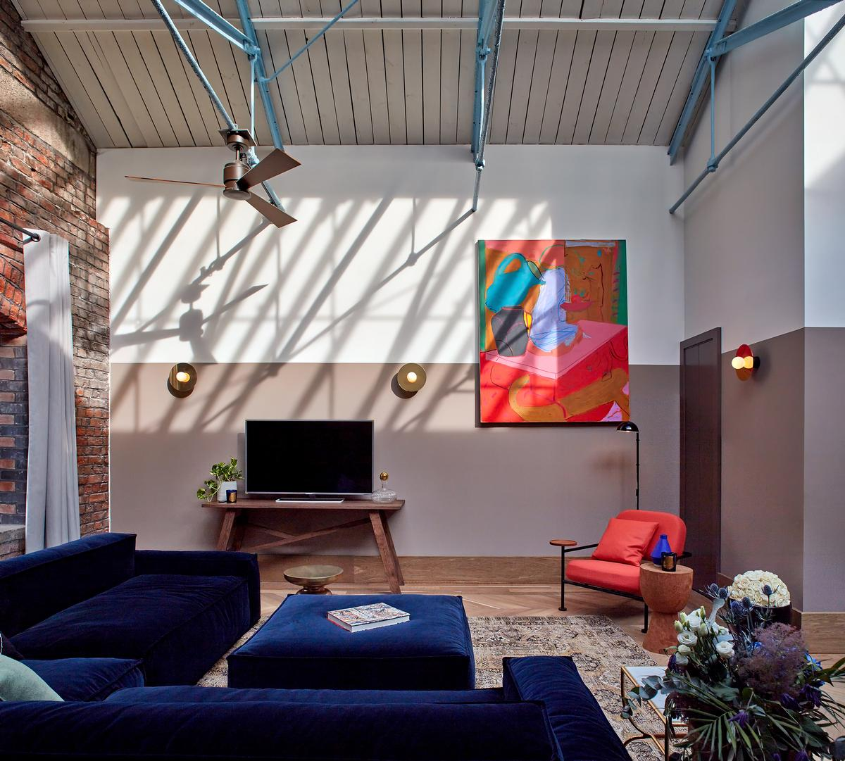 A living room in one of the loft apartments / Native
