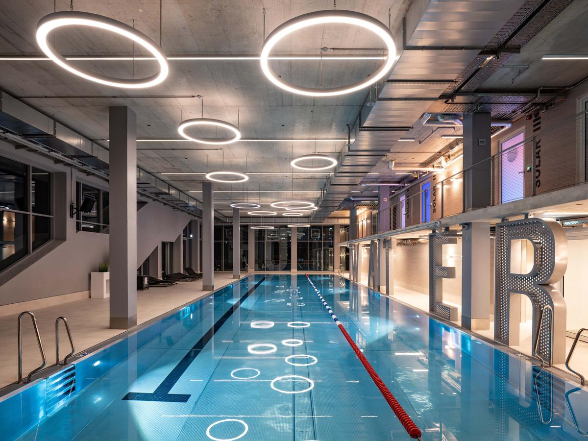 One of the tenants is a three-storey gym including a one-storey swimming pool / MVRDV