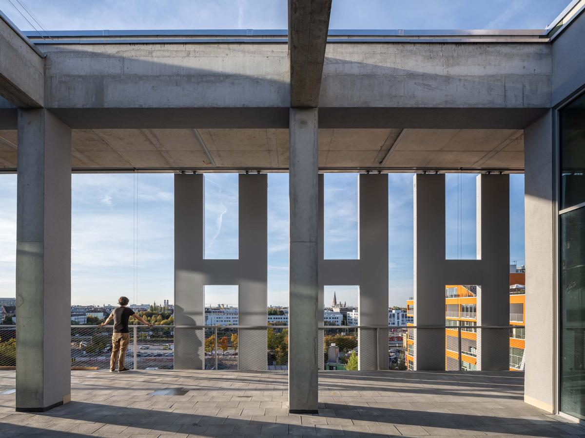 Letters of the façade installation can be seen from inside the building too / MVRDV