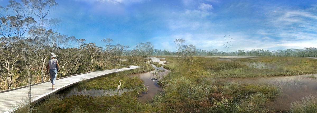 A network of boardwalks and trails will provide places for people to walk / Oxley Creek Transformation