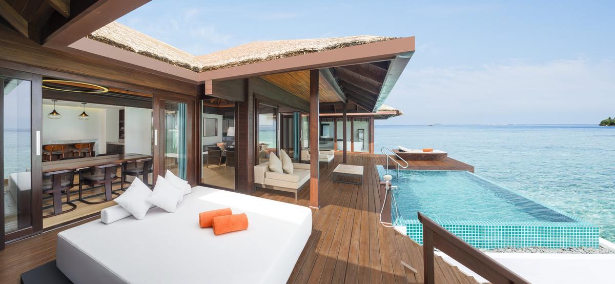 A two-bedroom Water Villa terrace at the Sheraton Maldives resort