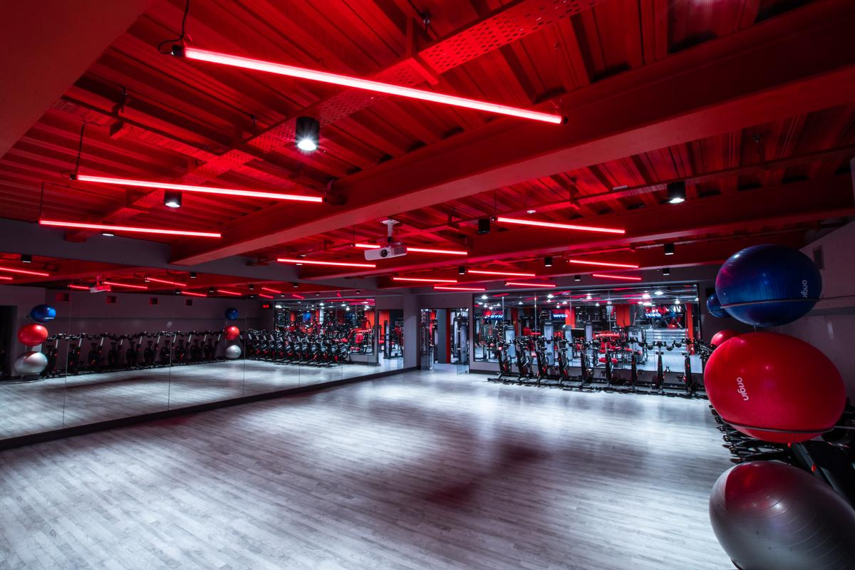 There are studios for training classes / UFC Gym