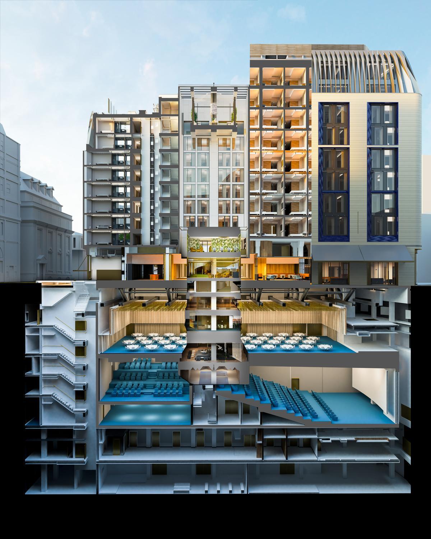The Londoner will have a six-storey, 30m (98ft)-deep basement / Woods Bagot