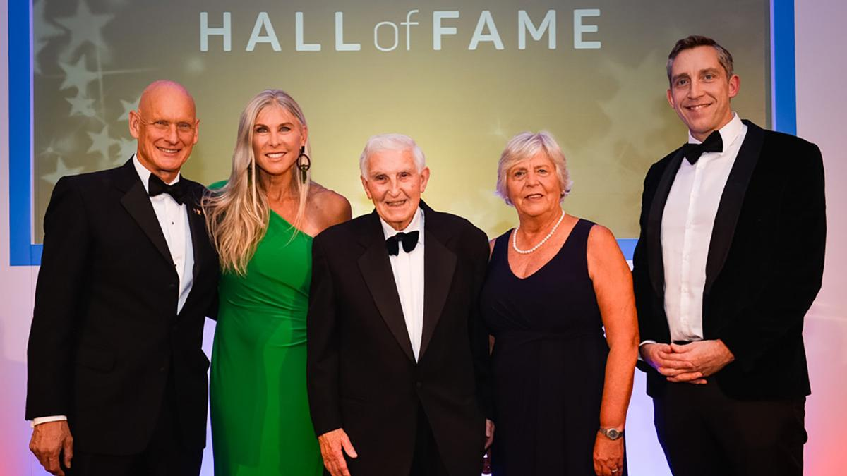 Duncan Goodhew (left) Sharron Davies (second from left), volunteer Alan Donlan (centre), Jenny Gray (Second from right) and Steve Parry (right) were the five living inductees to the Hall of Fame