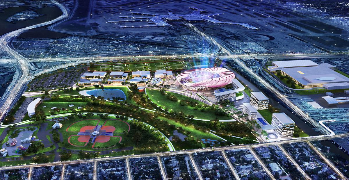 The proposed development covers 131ac (53ha) / Inter Miami CF