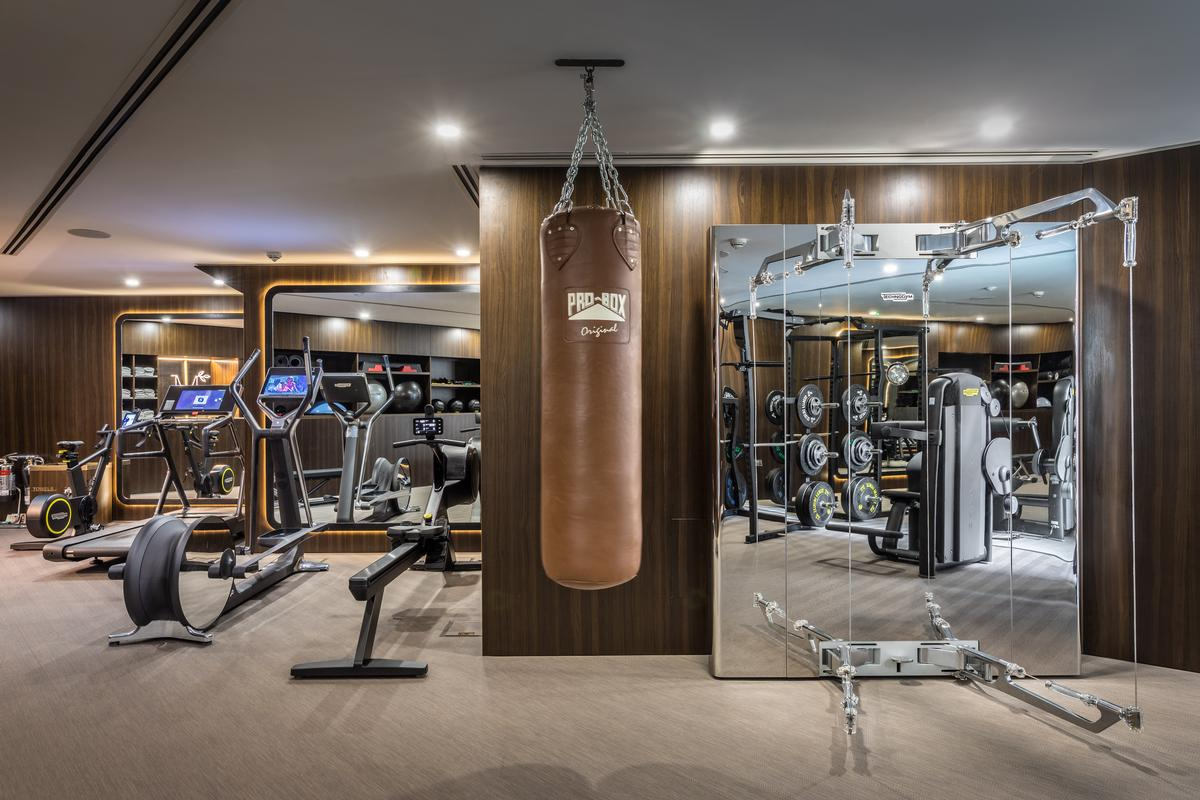 A fitness studio is among the amenities available to residents