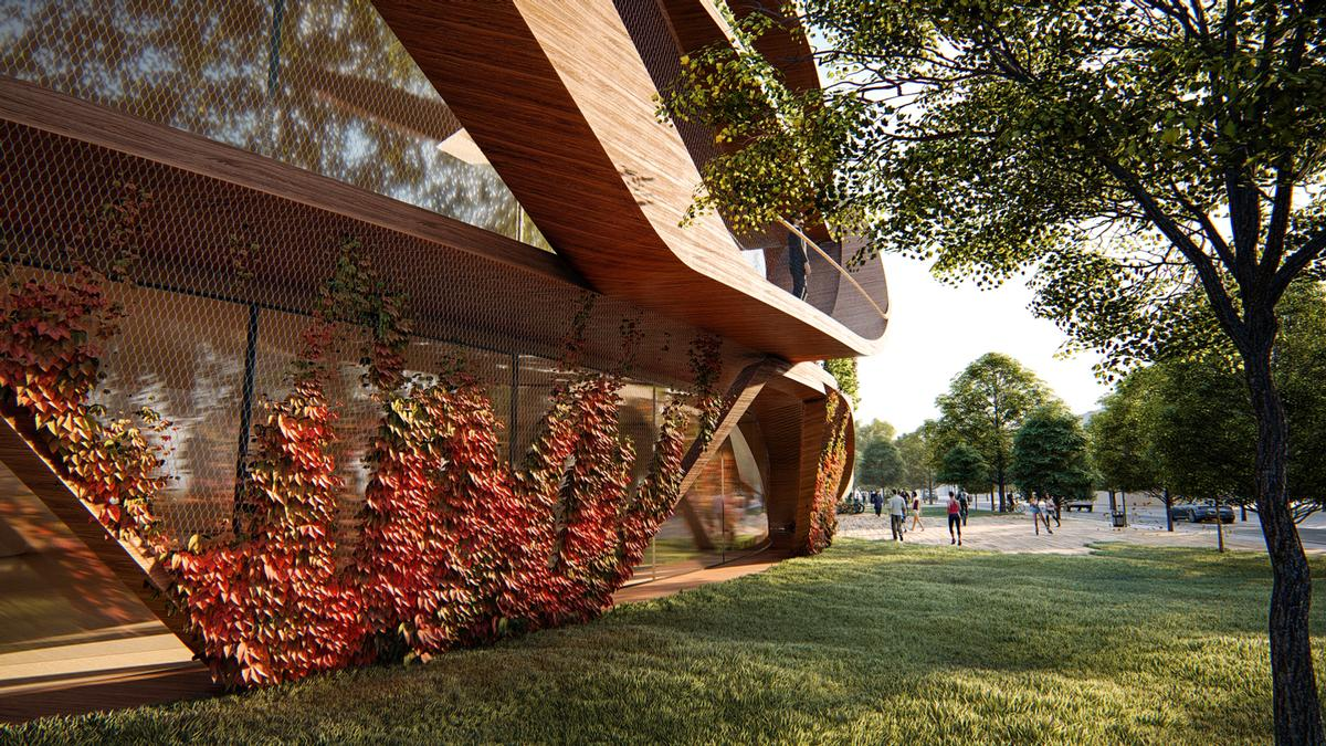 A façade planted with seasonal greenery will absorb CO2 / Lava