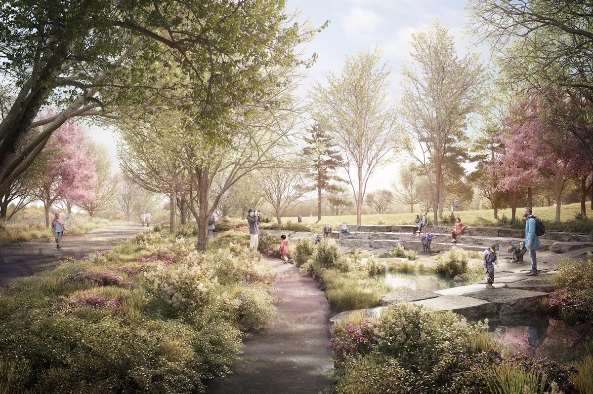 A one-acre wetland area will capture and treat stormwater and feature a Wetland Walk that threads through the area and offers a unique environment with seating and a tree canopy / The Obama Presidential Center