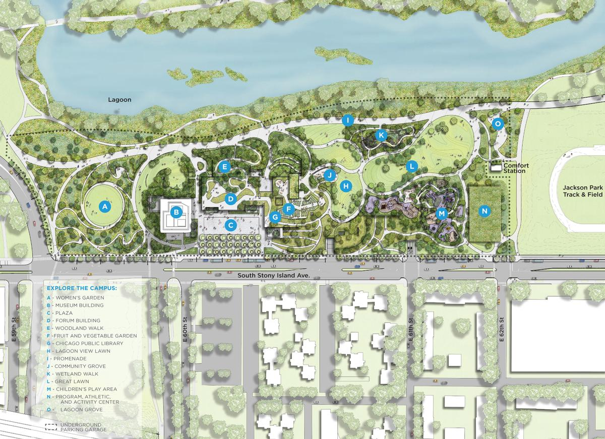 The campus site plan for the Obama Presidential Center in Jackson Park / The Obama Presidential Center