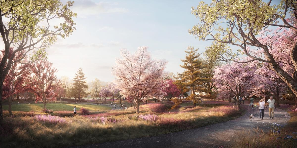 The landscape of Jackson Park's historic Women's Garden will be restored with plantings, pathways, and seating / The Obama Presidential Center