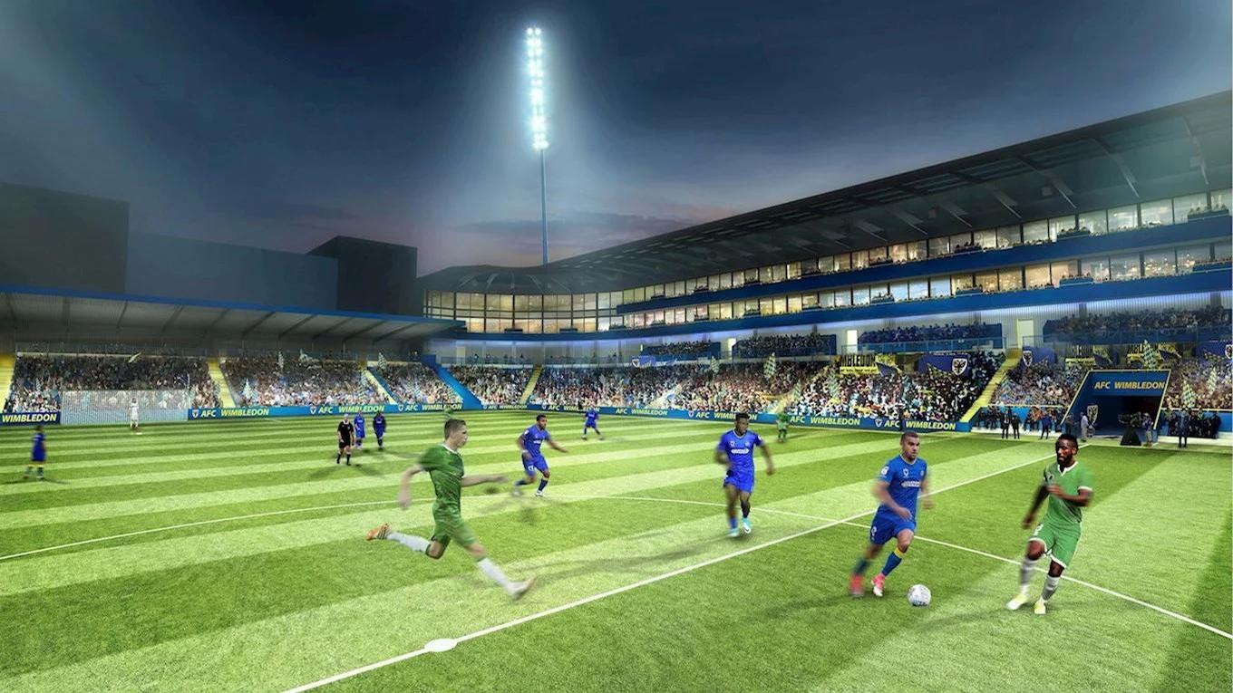 Designed by KSS Group, the main stand will feature three tiers, dominated by glass-fronted executive boxes / AFC Wimbledon/KSS