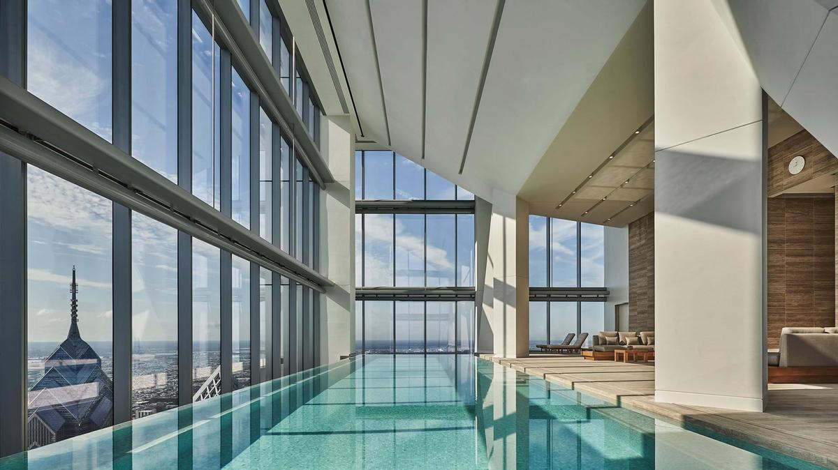 There are pools in the building's hotel and in its separate fitness centre / Foster + Partners